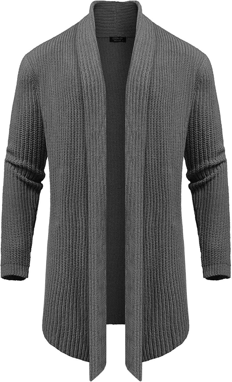 COOFANDY Men's Shawl Collar Knit Long Cardigan Ruffle Fashion Sweater Drape Cape