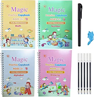 Reusable Magic Practice Copybook, Number Tracing Book for Preschoolers with Pen,Magic Calligraphy Copybook Set Include - A...