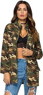 Escalier Women's Military Camo Jacket Zipper Causal Camoflage Utility Coat