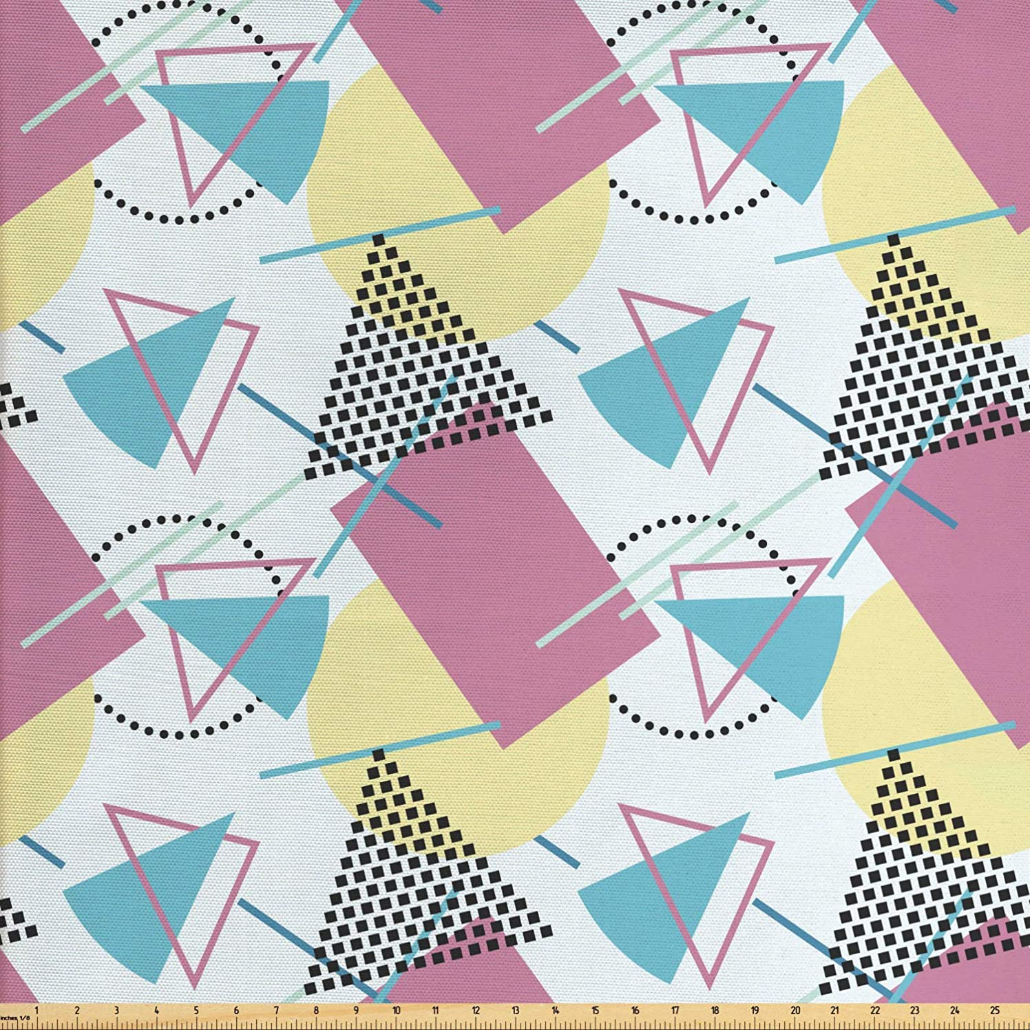 Ambesonne Retro Fabric by The Yard, Pastel Colored Funky Geometrical Shapes from Eighties and Nineties Memphis Style, Decorative Fabric for Upholstery and Home Accents, 1 Yard, Multicolor
