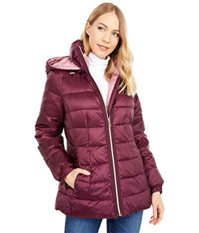 Kate Spade New York Mid Weight Short Down Puffer Jacket (Mulberry/Dried Rose) Women
