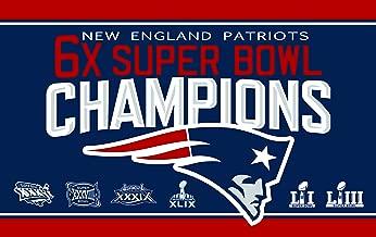 LEMOISTARS NFL New England Patriots 6-Time Super Bowl 3x5ft Banner Champion Flag with 2 Grommets