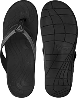 Orthotic Flip Flops - Wide Width Women's and Men's Thong Sandals with Arch Support for Comfortable Walk, for Plantar Fasciitis, Flat Feet, Heel Pain, Black