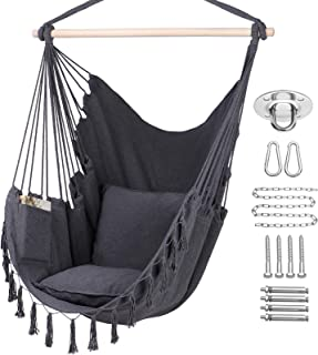 Y- STOP Hammock Chair Hanging Rope Swing, Max 330 Lbs, 2 Cushions Included-Large Macrame..