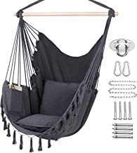 Y- STOP Hammock Chair Hanging Rope Swing, Max 330 Lbs, 2 Cushions Included, Large Macrame Hanging Chair with Pocket, Cotto...