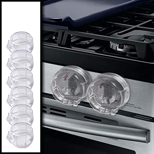 Clear Stove Knob Safety Covers - 6-Pack - Protect Little Kids with A Child Proof Lock for Oven/Stove Top/Gas Range - ...