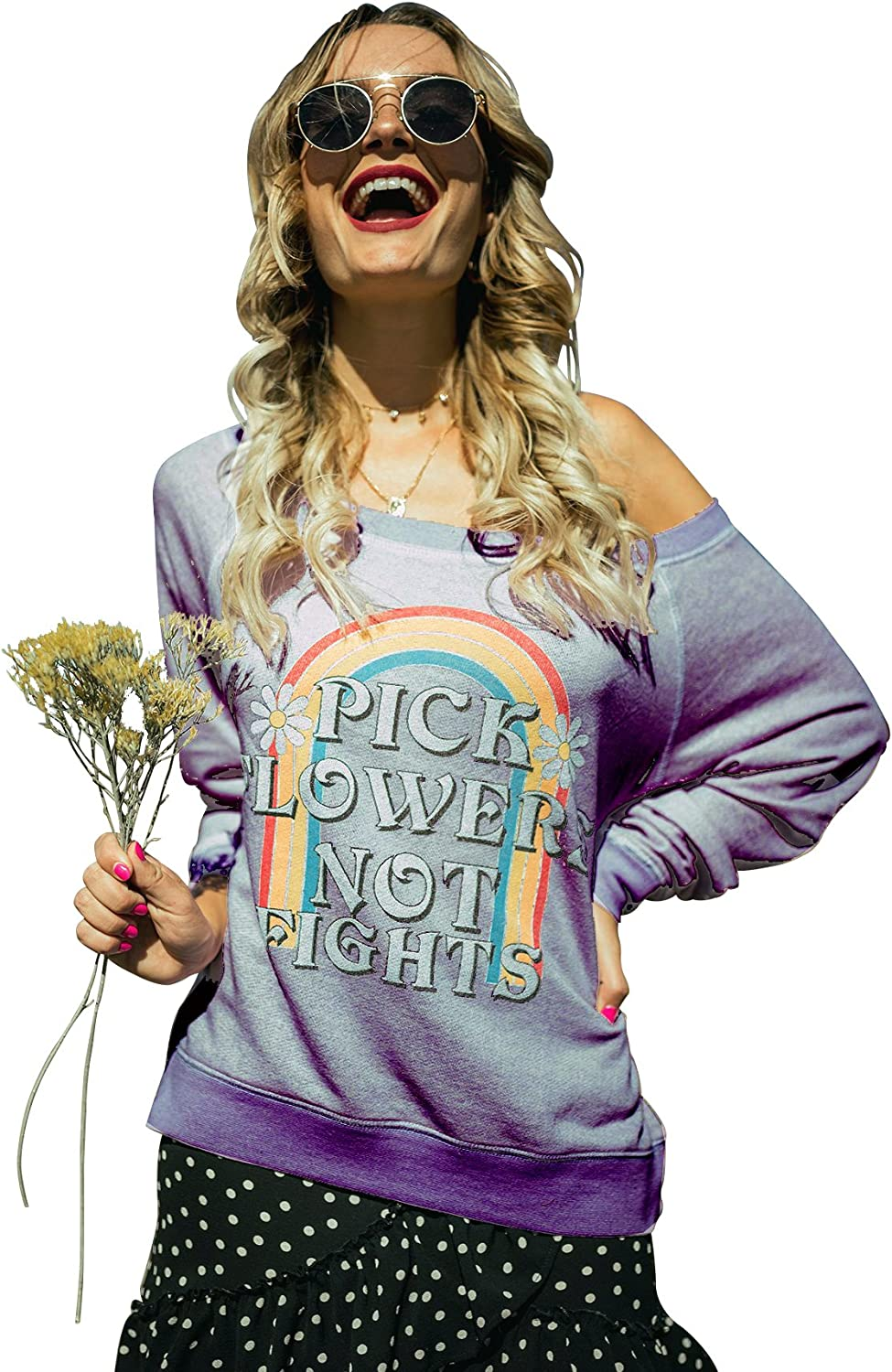 Life Clothing Co. Womens Pick Flowers Not Fights Heather Sweater
