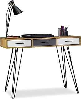 Relaxdays Bureau de Designer, Moderne, 3 tiroirs, Table de Travail Ordinateur, métal 75x100x50 cm, Brun-Blanc-Gris, MDF, F...