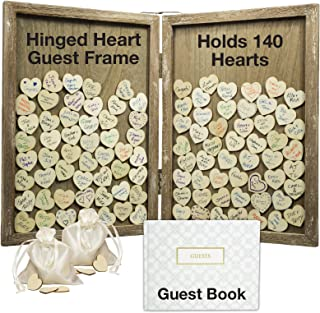 Wedding Guest Drop Top Frame Wedding Guest Book Alternative with 140 Blank Wooden Hearts, a Traditional Guest Book, Picture Frame. Hinged for Easy Tabletop Display (Rustic Brown Wood)