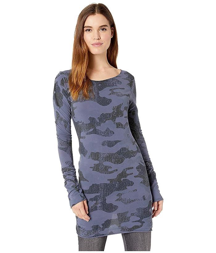 Hard Tail Long Skinny Tee (Navy/Blue Camo) Women's T Shirt