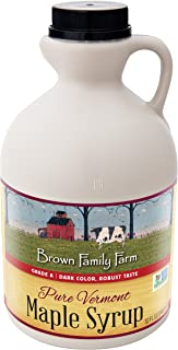 Brown Family Farm Maple Syrup, Pure Vermont Grade A,  Dark Color, Robust Taste, 32-Fluid Ounce