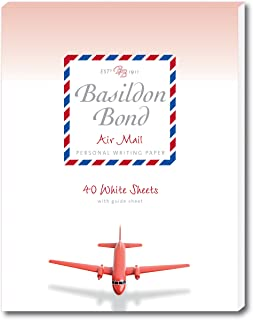 Basildon Bond P4TO 178 x 229 mm Writing Pad with 40 Sheets - Airmail White