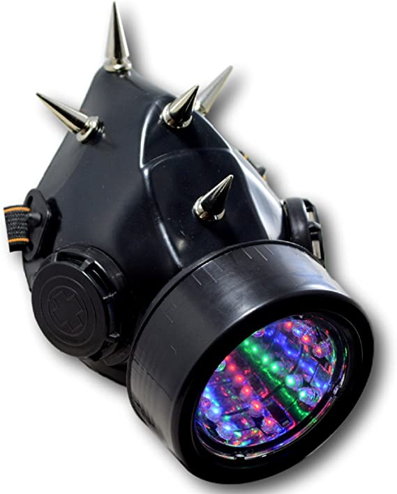 Amazon Com Tryptix Spiked Steampunk Light Up Gas Mask Respirator Single Cartridge 5 Spikes Clothing