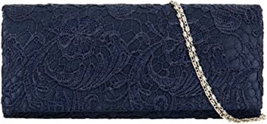 Girly HandBags Satin-Spitzen-Clutch-Tasche auf beiden Seiten, elegant, für Abendveranstaltungen, Hochzeiten, Abschlussbälle,