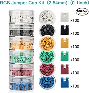 600 Pieces Standard Computer Jumper Caps Header Pin Shunt Short Circuit 2-Pin Connector Open Top 2.54mm. Suitable for Arduino Raspberry Pi PCB PC DVD HDD Motherboard Shorting and Other Items.
