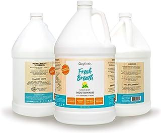 Oxyfresh Lemon Mint Mouthwash - Oxygene & Zinc - 1 Gallon 128 oz. Alcohol Free Solution for Fresh Breath & Dry Mouth Preve...