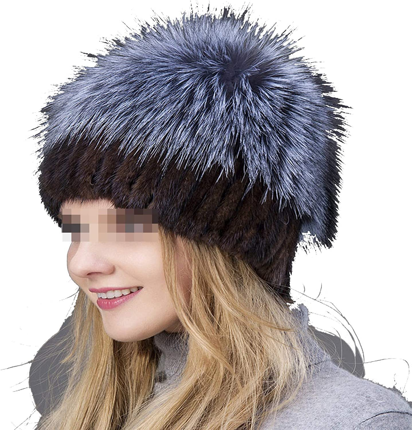 Sagiwo Fashion Winter Warm Women Knitting Caps Mink Hats greenical Weaving with Fox Fur On The Top