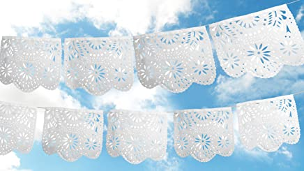 Fiesta Brands 2 Pack.White Ceremony. Mexican Papel Picado Banner..Stunning Pure