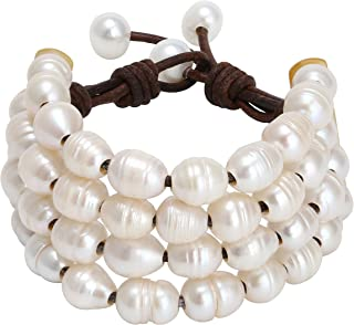 PearlyPearls Women's Multi Strands Pearl Bracelet on Genuine Leather Cord Handmade Jewelry 7.8''