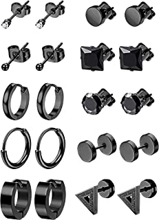 LOYALLOOK 6-12Pairs Stainless Steel Earrings For Men CZ Stud Earring Tiny Ball Stud Earrings Cartilage Earrings Endless Hoop Earrings For Men