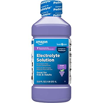 Amazon Basic Care Electrolyte Solution, Replaces Electrolytes, Grape, 33.8 Fl Oz