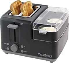 West Bend 2-Slice 78500 Breakfast Station Wide Slot Toaster with Removable Crumb includes Meat and Vegetable Warming Tray with Egg Cooker and Poacher, Black
