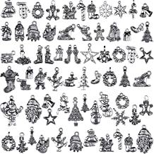 70 Pieces Charm Collections Antique Silver Pendant Charms Jewelry Crafting Supplies for DIY Necklace Bracelet (Christmas Collection)