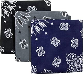 Bandana 3-Pack - Made in USA For 70 Years - Sold by Vets – 100% Cotton –Sewn Edges