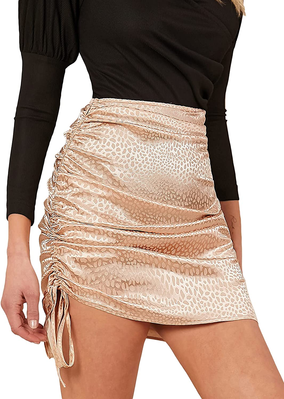 SheIn Women's Ruched Tie Side Short Skirts High Waist Drawstring Straight Mini Skirt