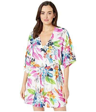 La Blanca Hyper Tropical Kimono Sleeve Dress Cover-Up (White) Women