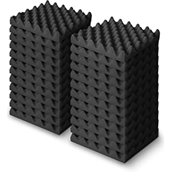 KUSUN 吸音材 波型吸音スポンジ 消音 騒音 防音 吸音対策 不燃 無害 250mm×250mm 厚さ約35mm (黒 24枚入)