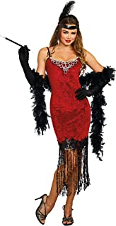 Women's 1920's Ruby Red Beaded Velvet Flapper