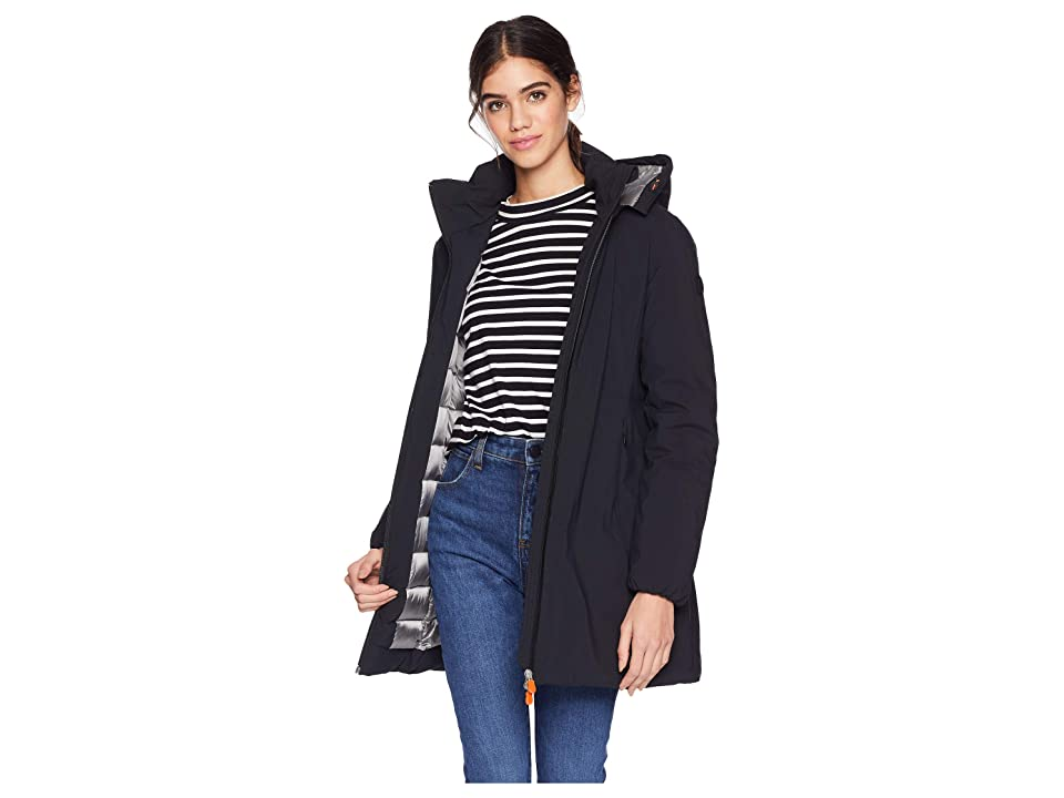 Save the Duck Non Baffled Rain with Removable Hood (Black) Women