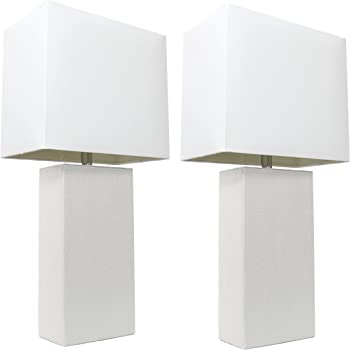 "Elegant Designs LC2000-WHT-2PK 2 Pack Modern Leather Table Lamps with White Fabric Shades, 3.9"", 2 Count"