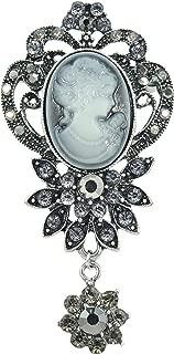 Gyn&Joy Old Style Victorian Lady Crystal Rhinestone Cameo Maiden Pin Brooch Flower