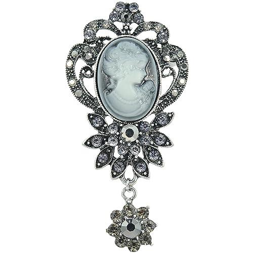 05494d01ff4 Gyn&Joy Old Style Victorian Lady Crystal Rhinestone Cameo Maiden Pin Brooch  Flower