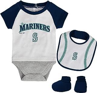 MLB Newborn Baseball Kid Bodysuit, Bib & Booties Set - White