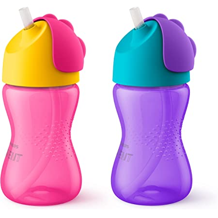 Philips Avent My Bendy Straw Cup, 10 Oz, 2 Pack, Pink/Purple, SCF792/22