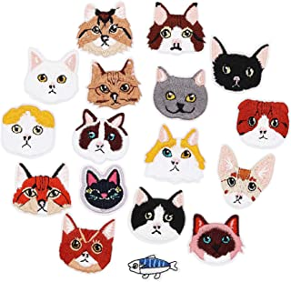 17pcs Cat and Fish Iron On Patches Embroidered Motif Applique Assorted Size Decoration Sew On Patches Custom Patches for DIY Jeans,Jacket,Kid's Clothing,Bag,Caps, Arts Craft Sew Making (Kitten 17pcs)