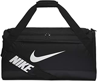 Brasilia Training Duffel Bag, Versatile Bag with Padded Strap and Mesh Exterior Pocket, Medium, Black/Black/White