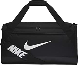 Brasilia Training Duffel Bag, Versatile Bag with Padded Strap and Mesh Exterior Pocket, Medium, Black/Black/White