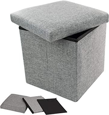 TRIXES Ottoman Storage Box - Flat Pack Toy Storage - Foot Stool - Folding Stool - Storage Box with Lid - Cube Storage - Memor