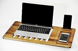 Valeur Crative Mobile Air Desk MacBook–Eco Premium Walnut Wood–Laptop Desk–Portable Stand & Desk Tarjeta Slate for M...