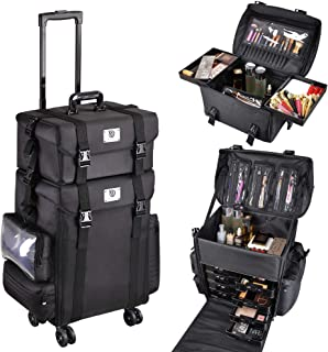 Byootique 4 Wheels 2in1 Rolling Soft Sided Makeup Case Freelance Makeup Artist Cosmetic Organize Storage Travel Train Case Classic Black