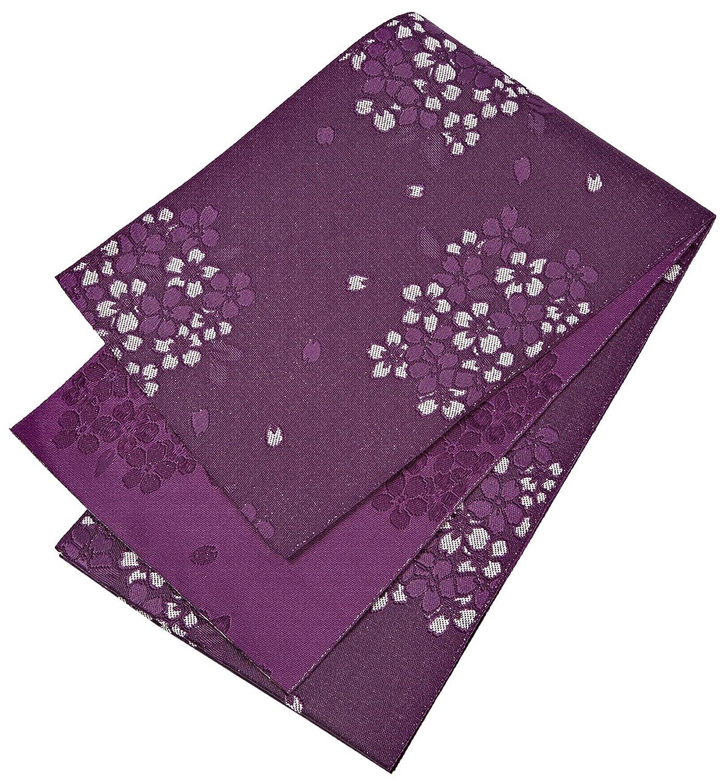 半幅帯 レディース 桜模様 紫色 ラメ入り 単衣 N2686