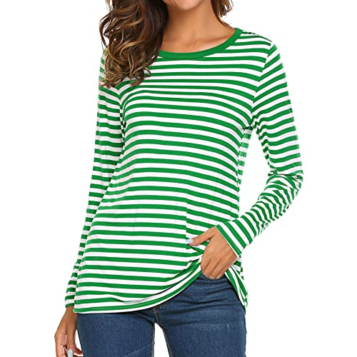 7edcaedb0f OURS Women s Round Neck Long Sleeve Basic T-Shirt Striped Shirts Tunic Top  Blouse