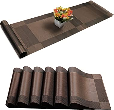 Placemats with Table Runner Sets Place Mats, Woven Crossweave Placemat Vinyl Kitchen Tablemat, Washable PVC Table Mats for Di
