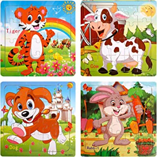 TOHIBEE Toddler Puzzles Wooden Jigsaw Puzzles for Toddlers Age 2-5 Year Old 20 Piece Wooden Puzzles for Toddler Children Learning Educational Toddler Toys for Boys and Girls (4 Puzzles)