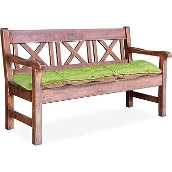 Relaxdays Cuscino per Panca da Giardino Imbottitura per panchina con Schienale Verde//Beige HxLxP: 8 x 142 x 96 cm