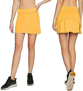 2da18c3f9e1677 Cityoung Women's Casual Pleated Tennis Golf Skirt with Underneath Shorts  Running Skorts